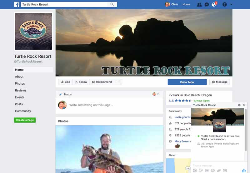 Turtle Rock RV Resort Facebook page
